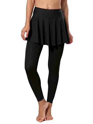 CQC Women's Tennis Skirt Leggings Athletic Sports Skorts Gym Running Golf Workout Bottoms with Pockets Black S