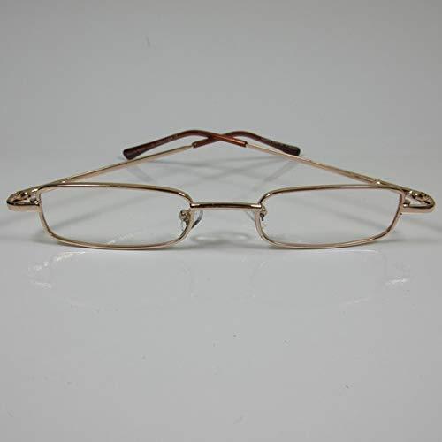 CEPEWA kleine leesbril metaal + 2,0 goud kant-en-klare bril unisex flex beugel
