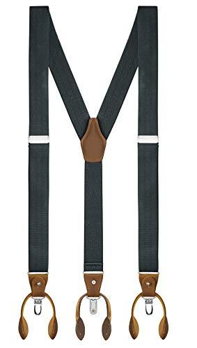 Buyless Fashion Tirantes para hombres Correas de 122 cm 3.18 cm En Y clips y botones - 5120-Gray