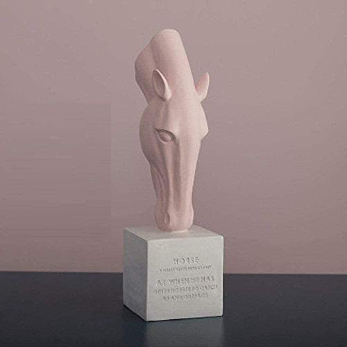 COCECOCE Estatuas Decoración Abstracta Cabeza de Caballo Resina Animal (Rosa) Obra de Arte geométrica de Caballo Sala de Estar Accesorios de Mesa Oficina Bar Decoraciones