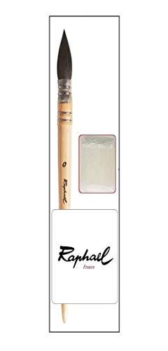 Raphael Serie 803 Pinsel Brush de Acuarela Petit Gris Redondo, Madera de Abedul, Raphael Brush Lavis Acuarela Gris puro Pure Mount Feather Serie 803 No.0 + Jabón gratis