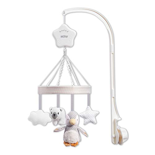 Nuby Musical Cot Mobile for Babies with Adjustable Arm to Fit All Cots. Cute Plush White and Grey Characters, Including Pebbles The Penguin and Pals