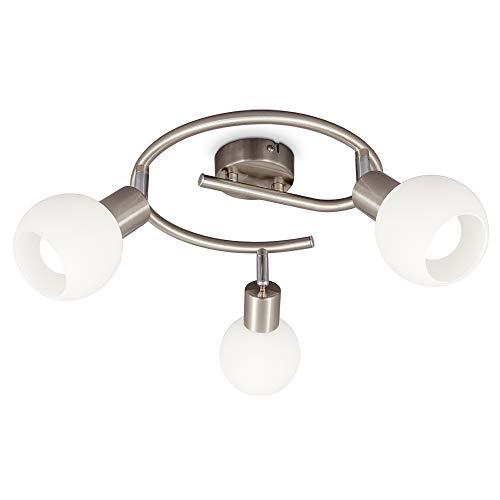 B.K.Licht Plafoniera LED con 3 faretti orientabili, paralumi in vetro, incluse lampadine E14, luce calda 3.000K, 3x5W, 3x470Lm, forma a spirale Ø25cm