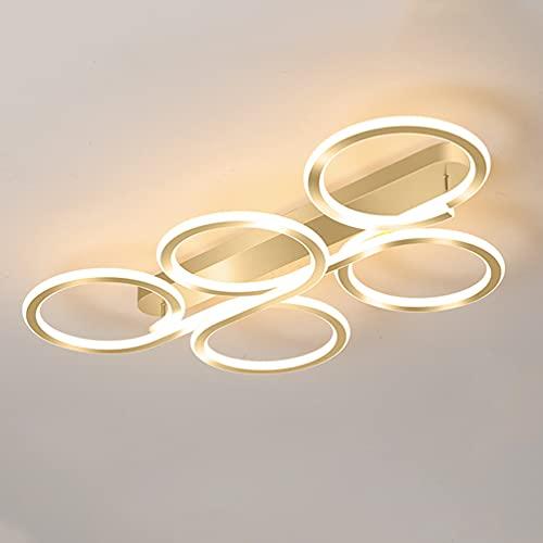 Lámpara de techo con 5 anillos, diseño moderno, rectangular, regulable, con mando a distancia, aluminio, 82 W, para dormitorio, salón, comedor, cocina, color dorado, L80 x 45 x 11 cm