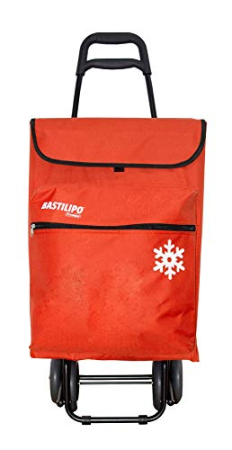 Bastilipo Julia 7098 Einkaufstrolley mit 4 Rädern, faltbar, mit Thermotasche, Orange, 50 l