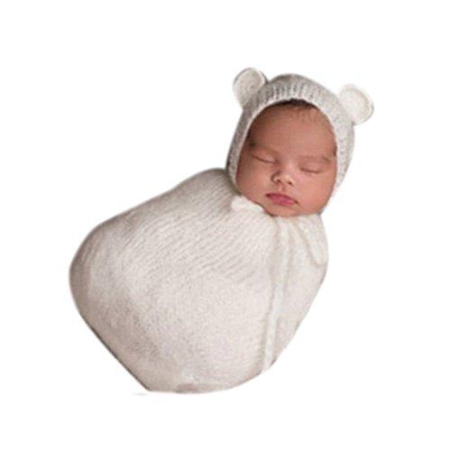binlunnu neonato fotografia puntelli Boy Girl Costume Crochet Outfits Sacco a pelo cappello