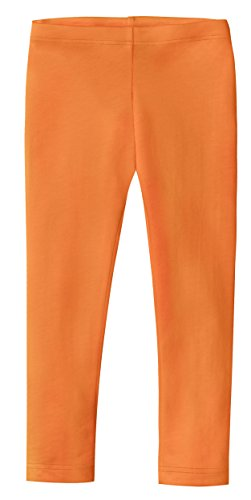 City Threads Girls' Leggings 100% Cotton for School Uniform Sports Coverage or Play Perfect for Sensitive Skin or SPD Sensory Friendly Clothing, Orange, 18/24 mo.