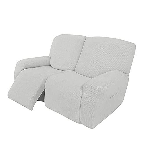 HUANXA Elástico Jacquard Fundas De Sofá para 1 2 3 Seater Chaise Longue Sillón Sofá, Universal Funda De Sofá Reclinable Protector De Muebles con Fondo Elástico-Blanco-2 Plazas(6pcs)