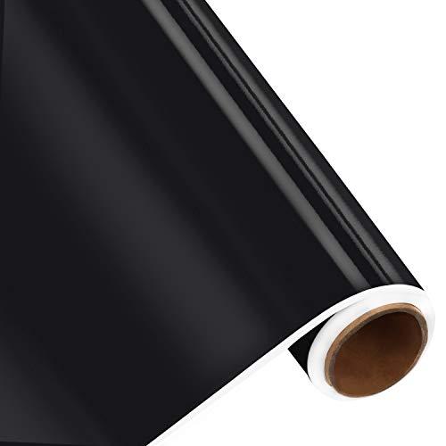 BELLE VOUS Adhesive Vinyl Vinyl Klebefolie Rolle Schwarz – 30cmx3 m Vinylfolie Selbstklebend für Plotter, Plotterfolie, Hobby, Basteln, Scrapbooking, Dekoration – Glänzende Vinylfolie für Sticker