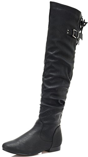 DREAM PAIRS Women's Colby Black Pu Over The Knee Pull On Boots - 8.5 M US