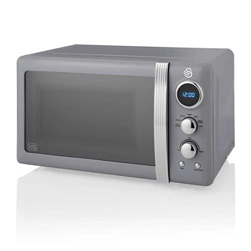 Swan Retro Digital Microwave Grey, 20 L, 800 W, 6 Power Levels Including Defrost Setting, SM22030GRN
