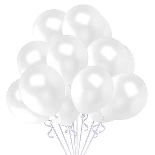 100 Pezzi Palloncini Bianca per Feste, Palloncini in Lattice da 12 Pollici per Elio, Palloncini per Laurea Palloncini, Matrimoni, Festa Decorazione, Compleanno, Anniversario