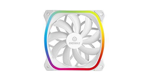 RGB LED Square Fan for Ultra-Quiet PC Case - High-End Design - Energmax Squa RGB White - Adhesive, 120 mm (UCSQARGB12P-W-SG), Plug & Play