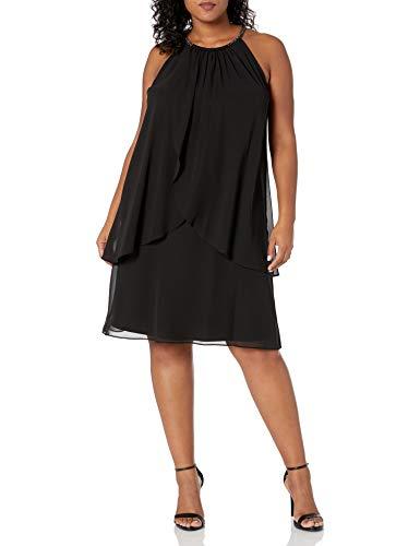 S.L. Fashions Women's Plus-Size Embellished Halter Neck Tier Dress, Black, 18W