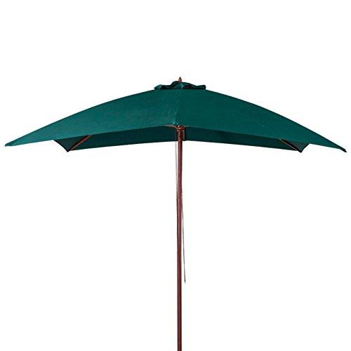 VERDELOOK Ombrellone in Legno a carrucola, 3x3 m, Verde Scuro, per arredo Esterni Giardino