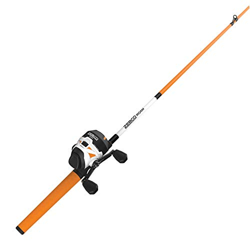 Zebco Roam Orange Spincast Reel and 2-Piece Fishing Rod Combo, ComfortGrip Rod Handle, Instant Anti-Reverse Fishing Reel, Size 30, 6