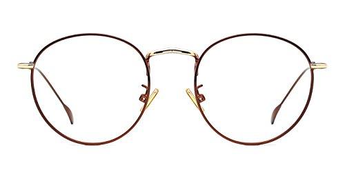 TIJN Unisex Montature Occhiali da Vista in Metallo Tondo Occhiali Retrò Metallo Lente Trasparente
