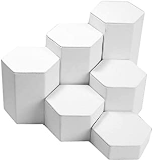 Mid Size White Leather Jewelry Display Stand Riser Set - 6 Pieces
