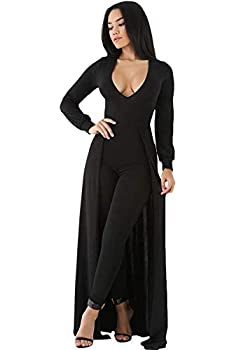 Women s Black Sexy Maxi Long Sleeve Overlay Elegant Party Pants Skirt Clubwear Romper Jumpsuit M