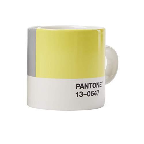 Pantone Porzellan Espressotasse, dickwandig, spülmaschinenfest, 120ml, Illuminating 13-0647 & Ultimate Gray 17-5104, 18582