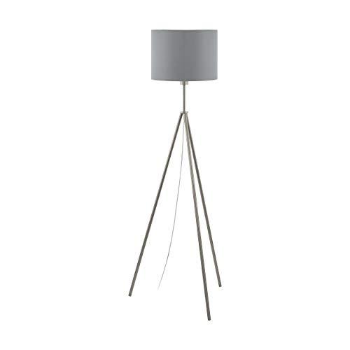 EGLO Stehlampe Scigliati inkl. Leuchtmittel, 1 flammige Stehleuchte Modern, Standleuchte aus Stahl und Textil, Wohnzimmerlampe in Nickel-Matt, Grau und Silber, Lampe mit Tritt-Schalter, E27 Fassung