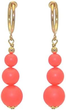 NEON RED CERCEAU G-Plated Crystal Pearl Clip On Earrings