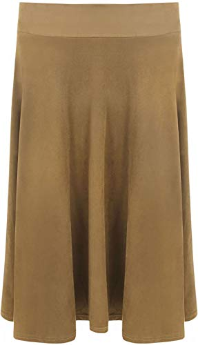 RIDDLED MET STYLE Vrouwen Dames Plain Suede Look Elastische Taille Casual Flared Novelty Knie Lange Rok