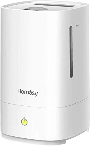 Homasy 4.5L Cool Mist Humidifiers, Top Filling Humidifiers for Bedroom, 28dB Quiet Ultrasonic Humidifier for Baby Room, Fresh Air Humidifier, Sleep Mode & Auto Shut Off, Up to 30 Hours, All White