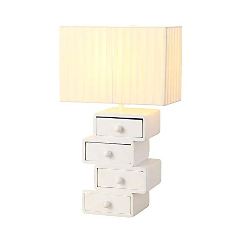 Tafellamp van massief hout, Scandinavisch studium, ladenlamp, slaapkamer, nachtkastje, woonkamer, modern, wit, E27, 1 schakelaar, voeding, 220 V, Scandinavische creativiteit