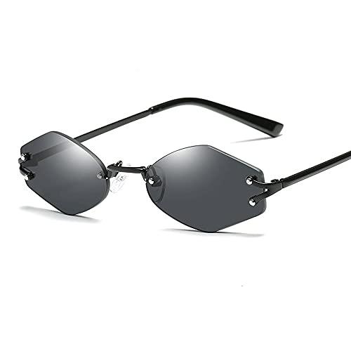 Gafas De Sol para Hombre Y Mujer Moda Hexagonal con Estilo Gafas ProteccióN para ConduccióN Gafas De Deportes Al Aire Libre De Pesca De Moda Regalo De San ValentíN (Color : Black)