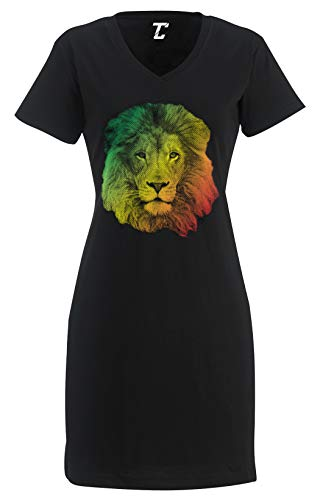 Tcombo Rasta Lion Face - Jamaican Jah Power Women's Nightshirt (Black, XX-Large/XXX-Large)