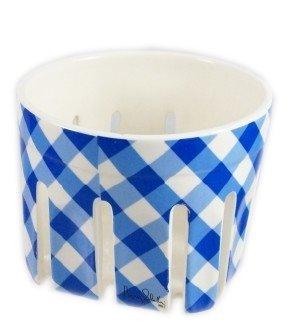 Bath and Body Works Slatkin & Co. Blue Gingham Ceramic Candle Holder