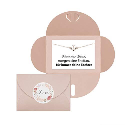 Lillyville - Brautmutter Geschenk mit Anker Armband Rosegold und Karte - Heute eine Braut, Morgen Ehefrau - Hochzeit Armkette - Umschlag Rose