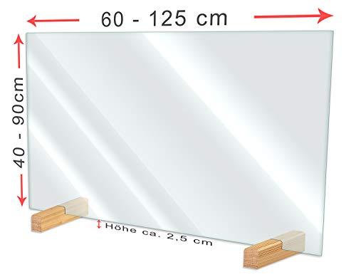 Wallario Hustenschutz Niesschutz Trennwand Thekenaufsteller aus Acrylglas, 60 x 90 cm, zum Aufstellen