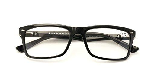 V.W.E. Men Gloss Black Rectangle Rectangular Reading Glasses Wide fitment. (Black, 1.50)