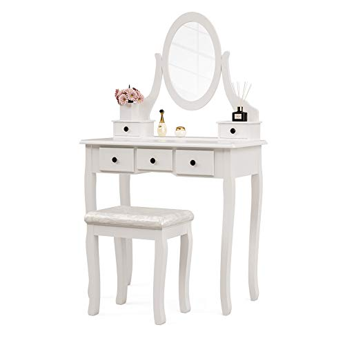 Mecor Vanity Table Oval Mirror,Makeup Vanity Set Cushioned Stool Wood Dressing Table...