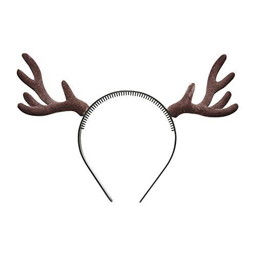 Widmann 9538D - Rentier Haarreifen, mit braunem Geweih, Kopfbedeckung, Rentier, Weihnachten, Silvester, Motto Party, Karneval