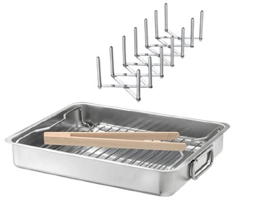 IKEA KONCIS Ofenform mit Rost und VARIERA Deckelhalter aus Edelstahl