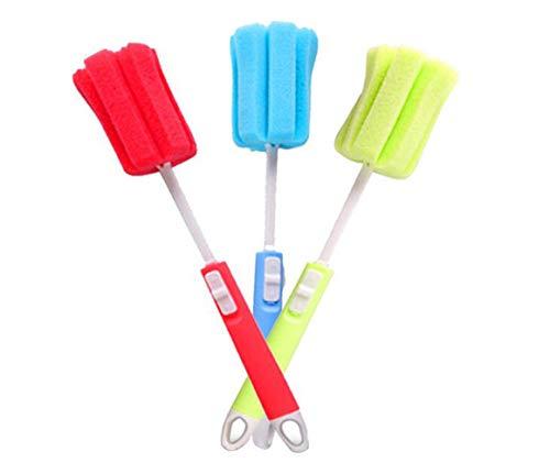 3 cepillos de esponja de espuma para lavar platos con mango largo ajustable cepillos de limpieza suaves para biberones de bebé, cocina, vasos limpios, tazas (color al azar)