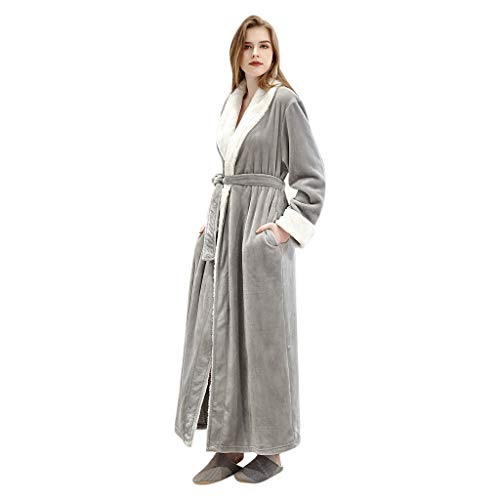 Dasongff Montana badjas met capuchon, coral fleece, ochtendjas, badstof, dames en heren, saunamantel lang nachthemd, pyjama, nachtkleding X-Large grijs/dames.