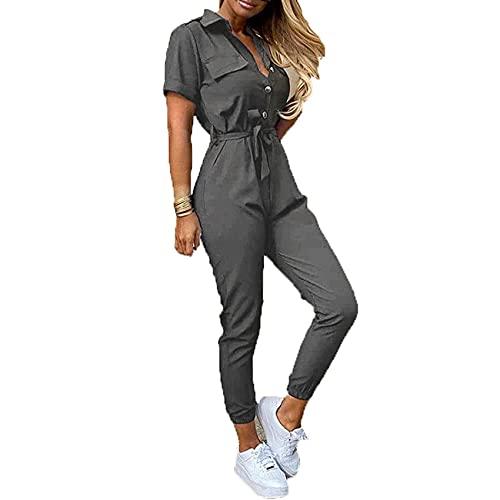 Pantalones De Verano para Mujer, Solapa Informal, CinturóN Estampado Abotonado, Overoles, Pantalones De Pierna Recta, Mono