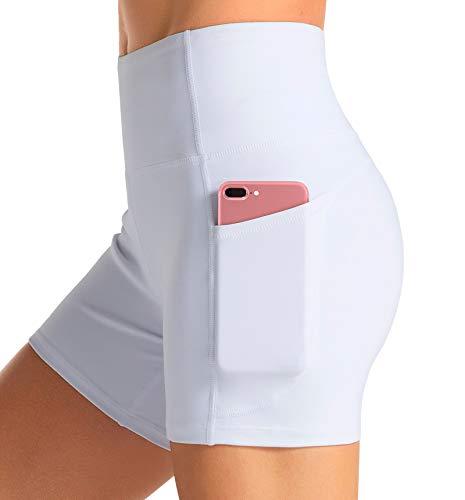 Dragon Fit Yoga-Shorts mit hoher Taille für Frauen mit 2 Seitentaschen, Bauchkontrolle, Laufen, Zuhause, Workout-Shorts - Weiß - Klein