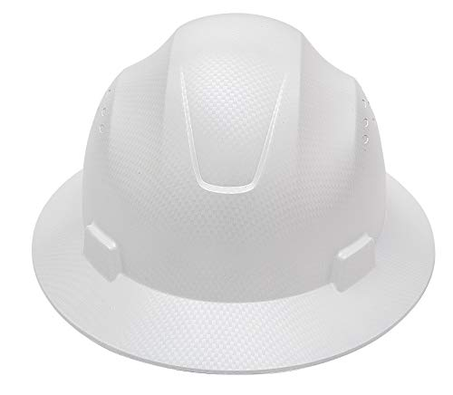 CJ Safety Full Brim Fiber Glass Hard Hat with Fas-Trac Suspension (White)