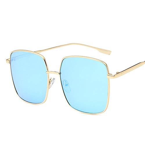 DLSM Gafas de sol Ocean Lens Gafas de sol para mujer Vintage Gafas Candy Colors Espejos UV400 SuiTable para senderismo al aire libre Gafas de sol de conducción - GoldBlue