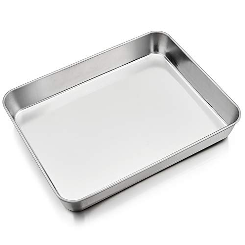 P&P CHEF Baking Sheet Rectangular Cake Pan, Stainless Steel Lasagna Pan for Lasagna Brownie Fish Meats, 9.7-inch by 12.3-inch, Heavy Duty & Easy Clean, Rectangle - Silver