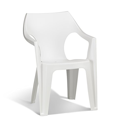 Keter - Silla de jardín exterior Dante High Back, Color blanco