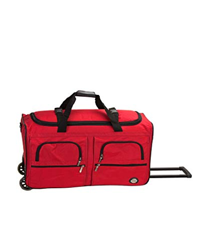 Rockland Rolling Duffel Bag, Red, 30-Inch