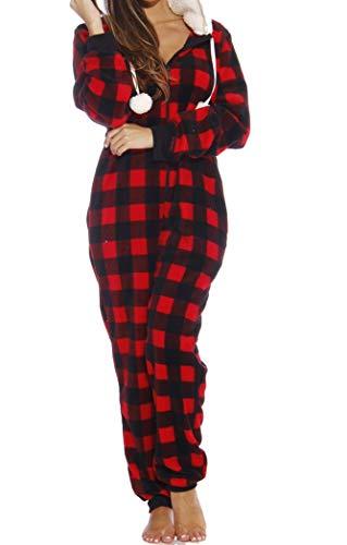 Just Love Adult Onesie/Pajamas,Large,Red Buffalo Plaid