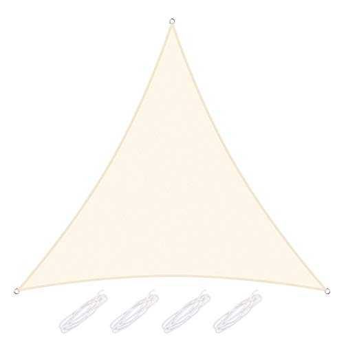 Yodeace Toldos Exterior Terraza 3x3x3m, Toldo Vela Triangular Bloque UV Toldos Terrazas para Patio Jardín Piscina Terraza Blanco lechoso