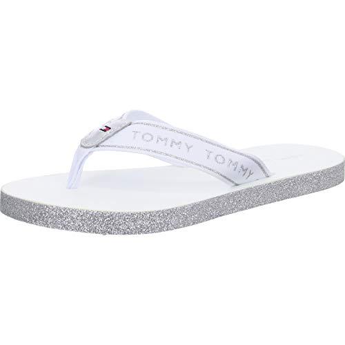 Tommy Hilfiger Tommy Glitter Flat Beach Sandal, Sandalias con Punta Abierta para Mujer, Blanco (White Ybs), 38 EU